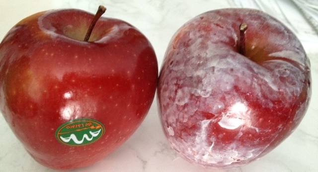 Shining Wax coated apples in London Fulham market