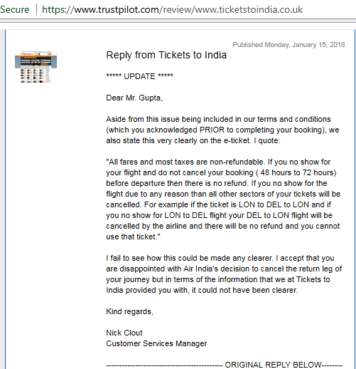 Nick Ticketstoindia dishonestly quoted on Trust pilot after change of FARE RULES